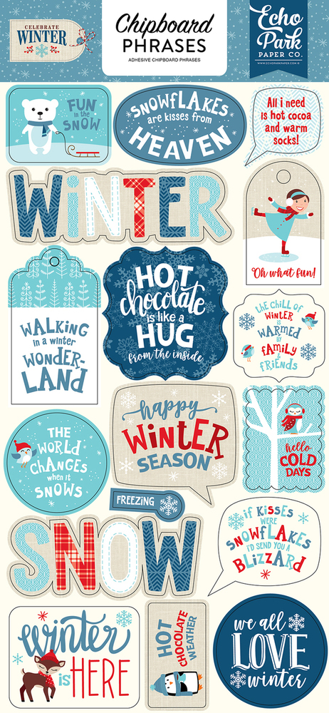 Celebrate Winter Chipboard Phrases