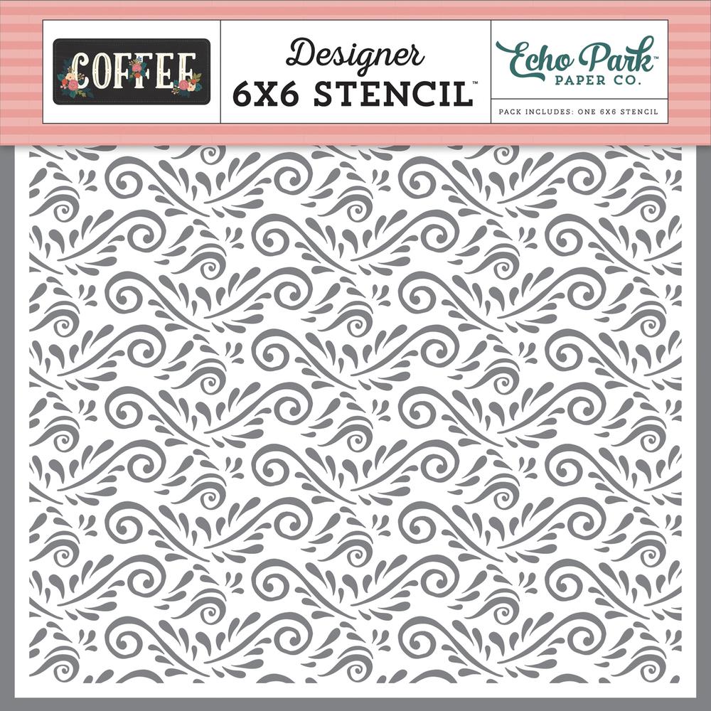 Coffee Flourish Stencil