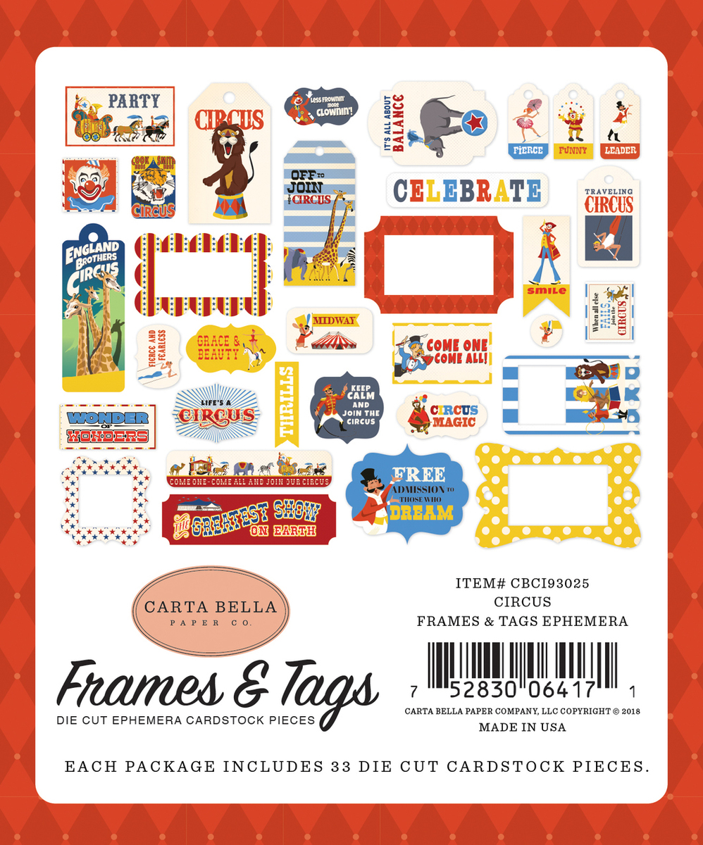 Circus Frames & Tags Ephemera