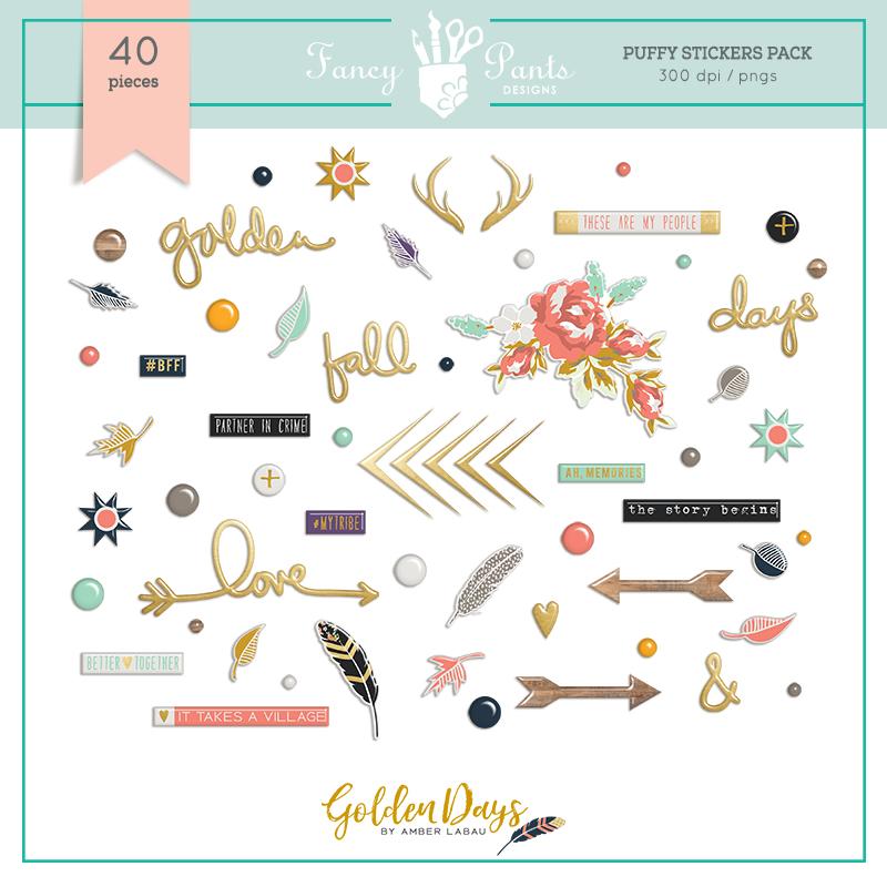 Golden Days Puffy Stickers