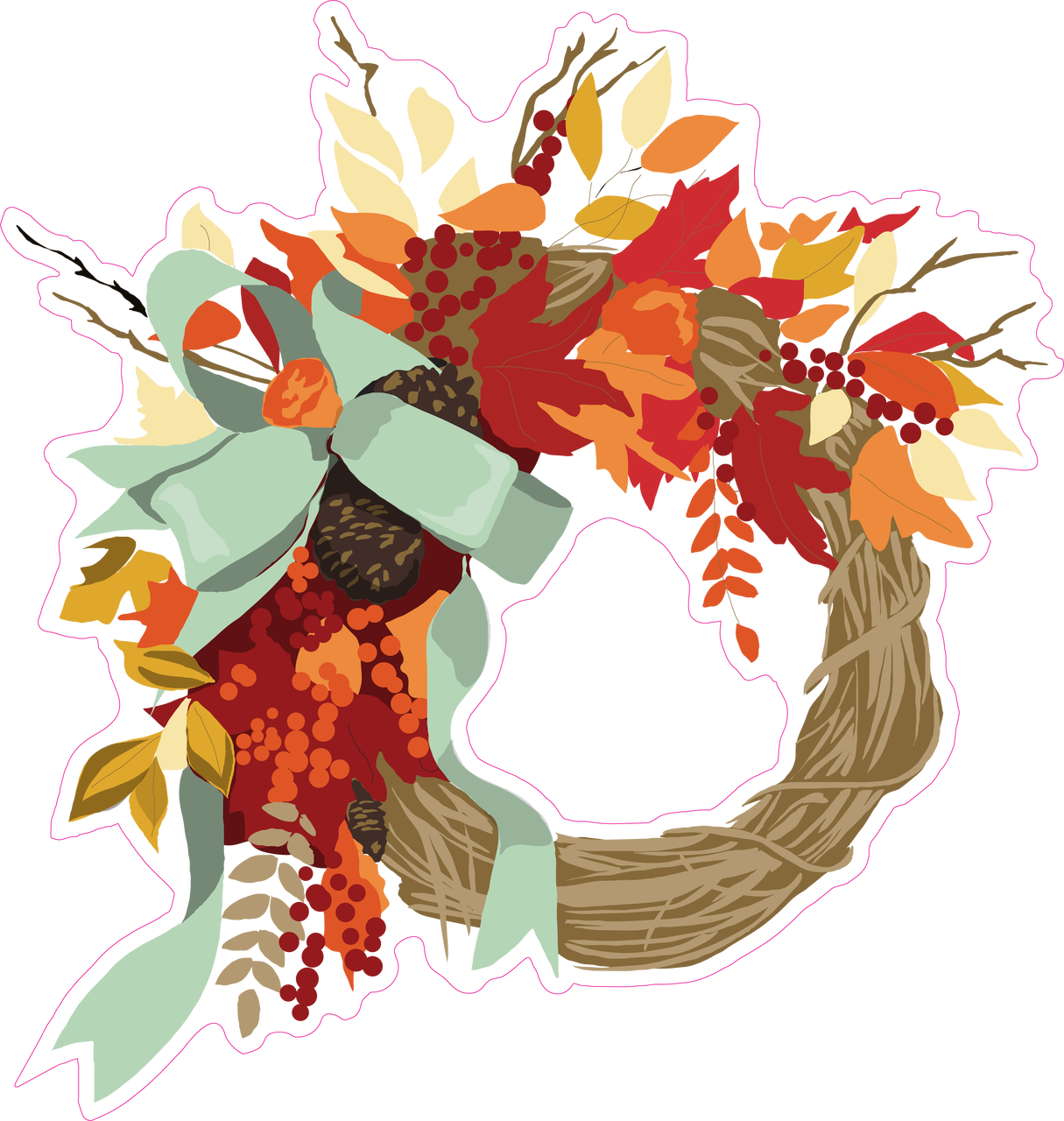 Fall Wreath Print & Cut File
