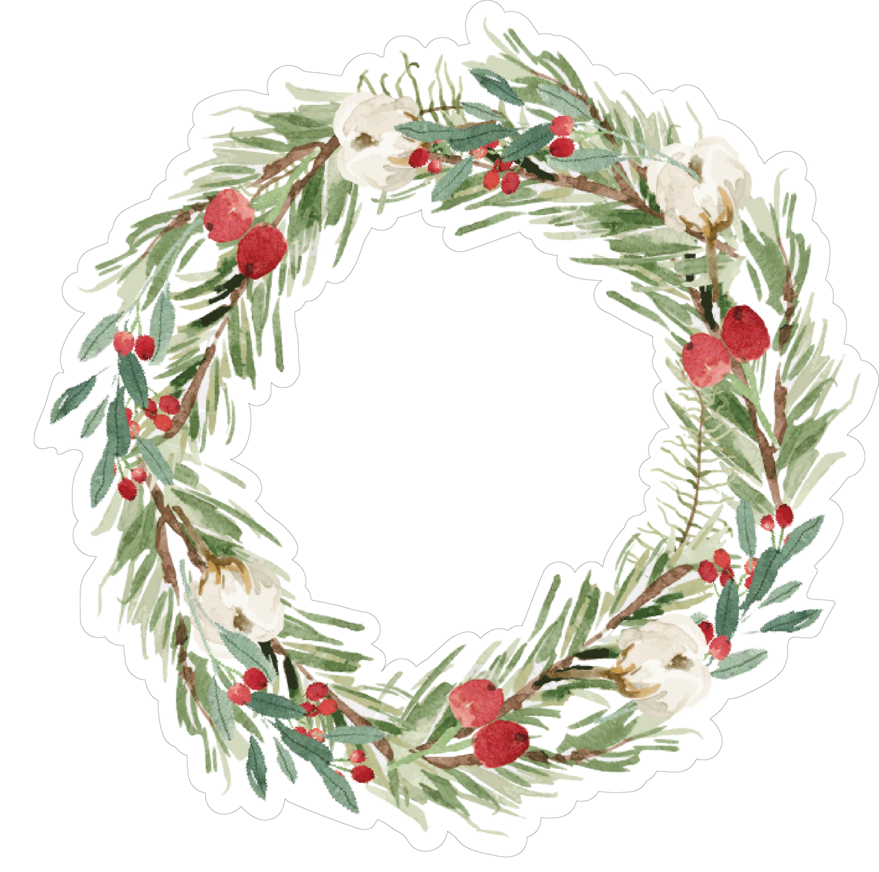 Christmas Wreath Print & Cut File - Snap Click Supply Co.