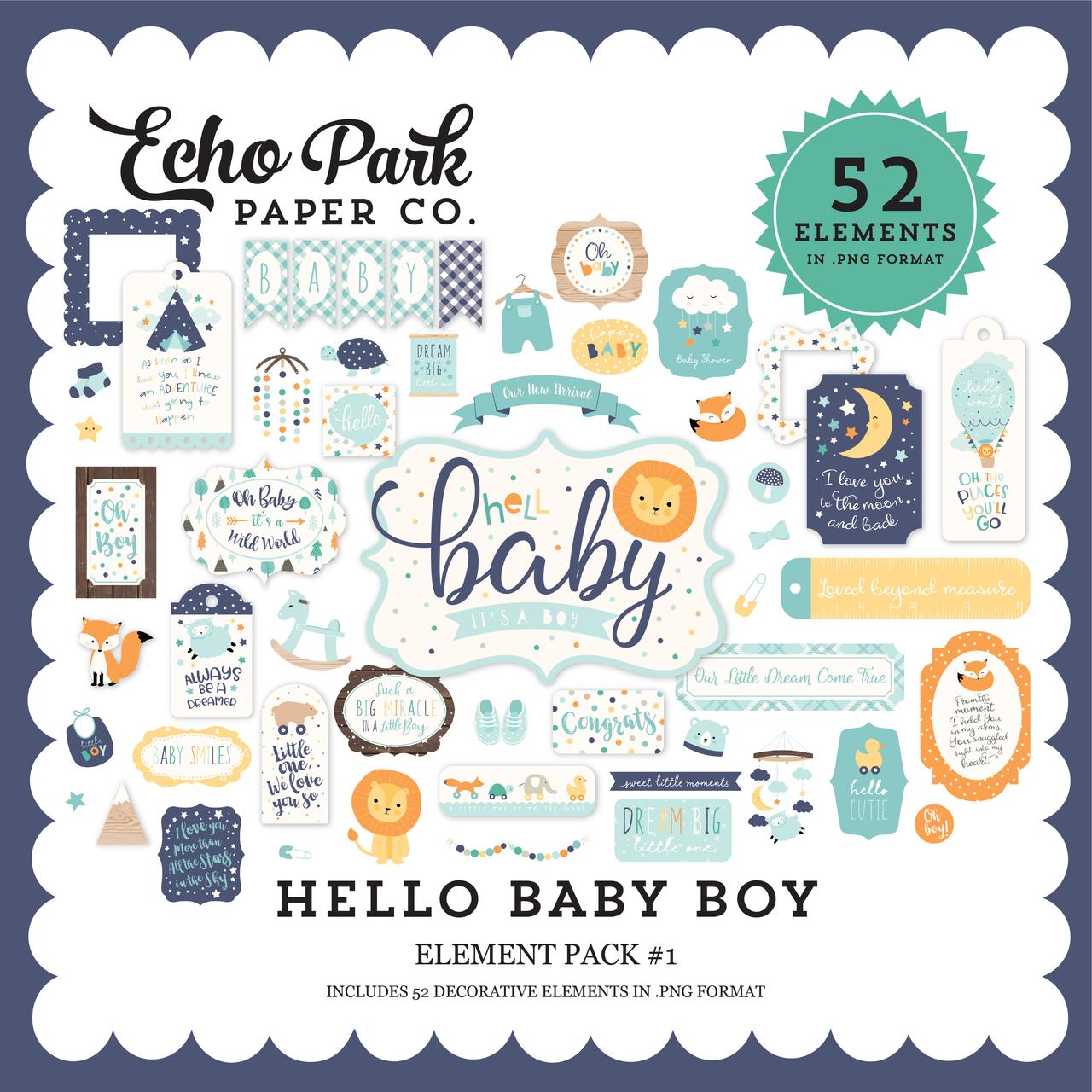 Hello Baby Boy Element Pack #1