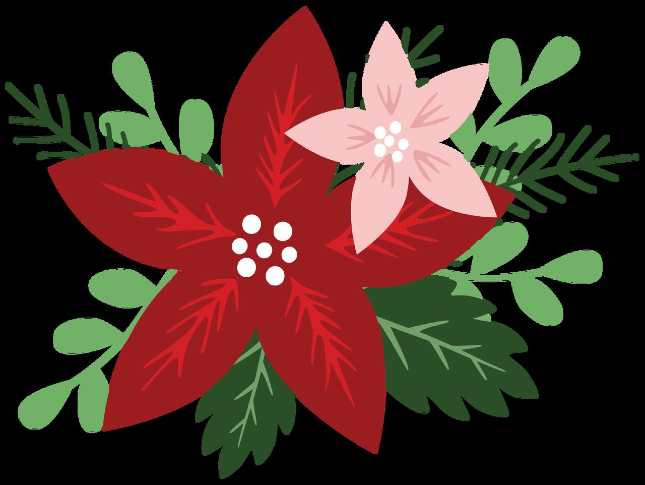 Merry & Bright Flower Bundle Print & Cut File