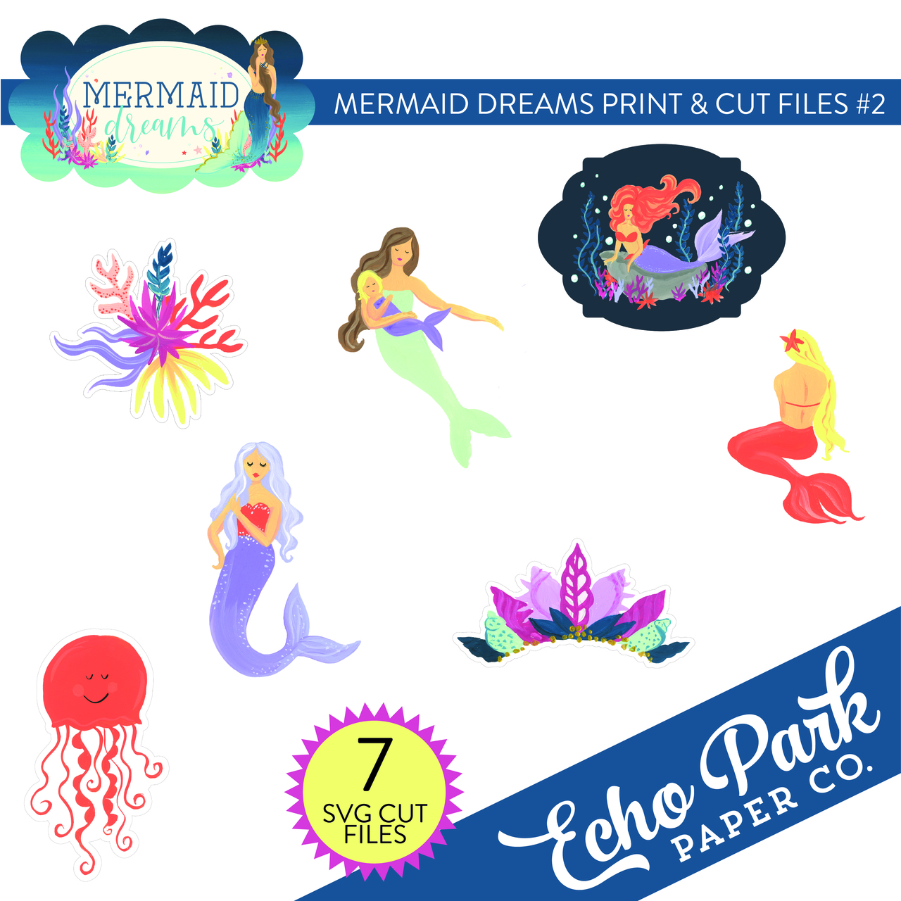 Mermaid Dreams Print & Cut Files #2