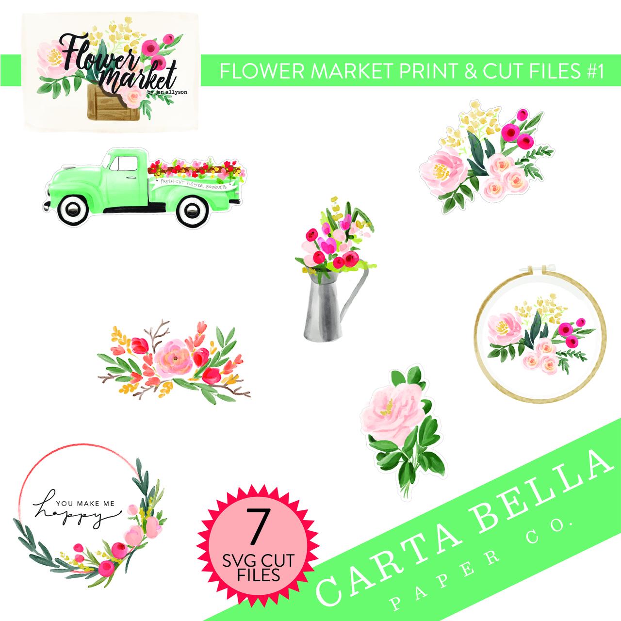 Flower Market Print & Cut Files #1