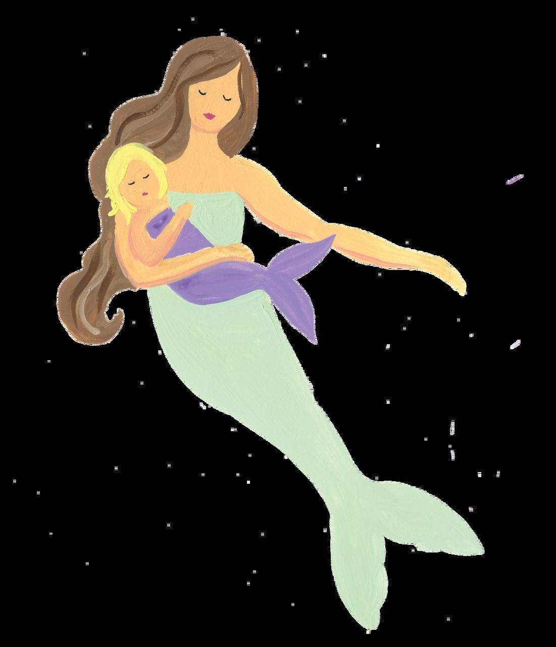 Mermaid with Baby Print & Cut File