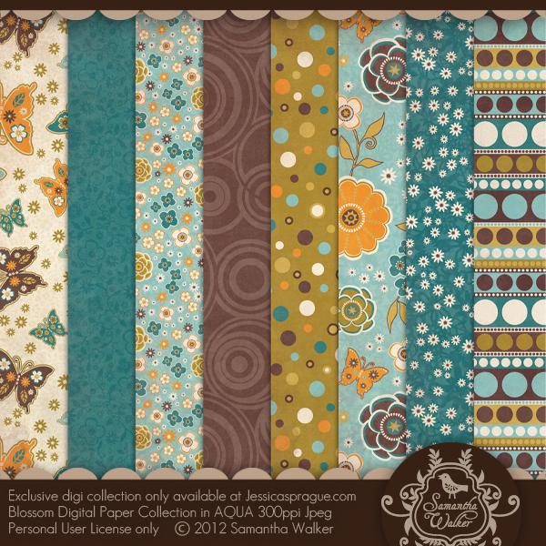 Blossom Paper Collection AQUA