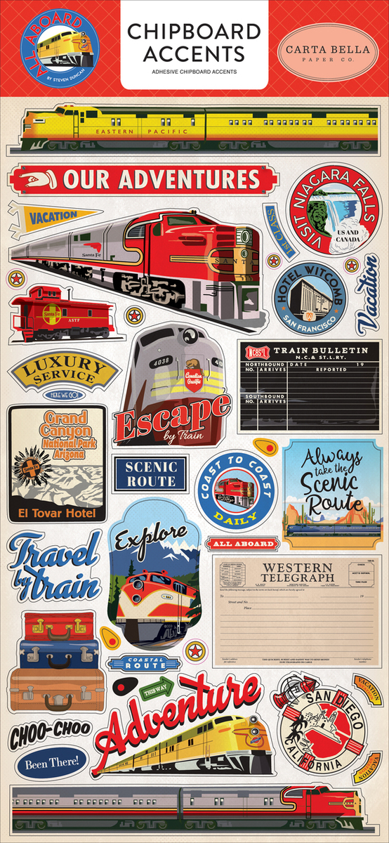 All Aboard Chipboard Accents