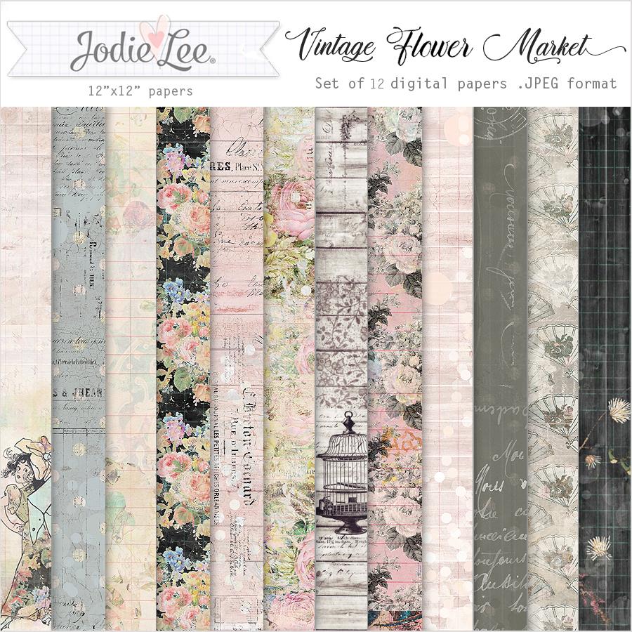 Vintage Flower Market Digital Papers