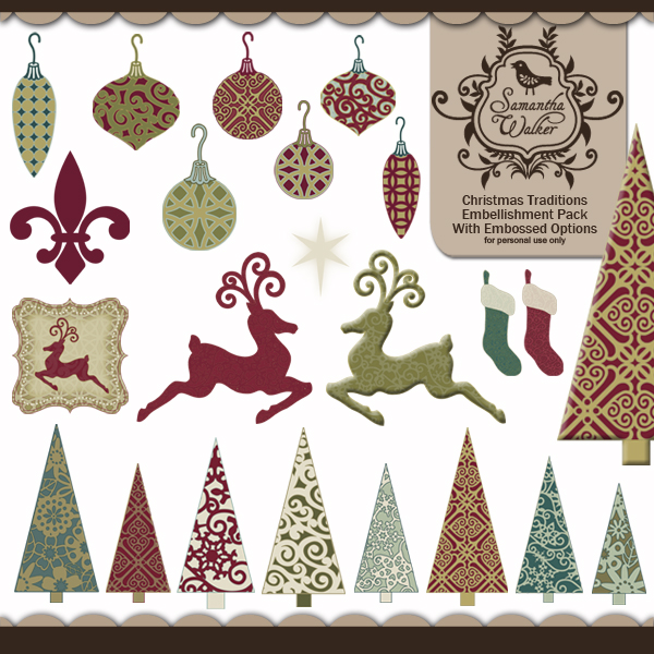 Christmas Traditions Embellishments with embossed options
