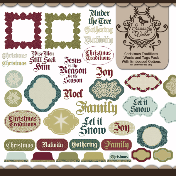 Christmas Traditions words and tags