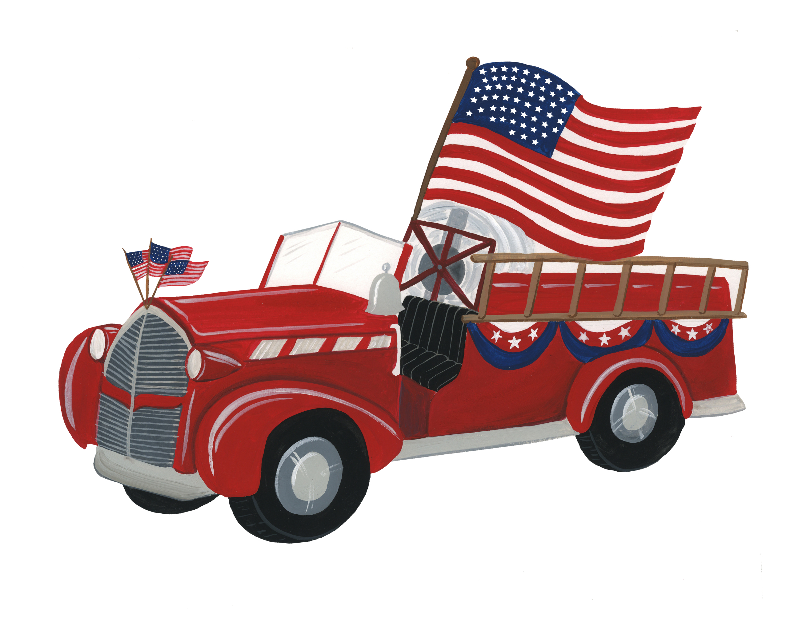 4th Of July Fire Truck Print & Cut File
