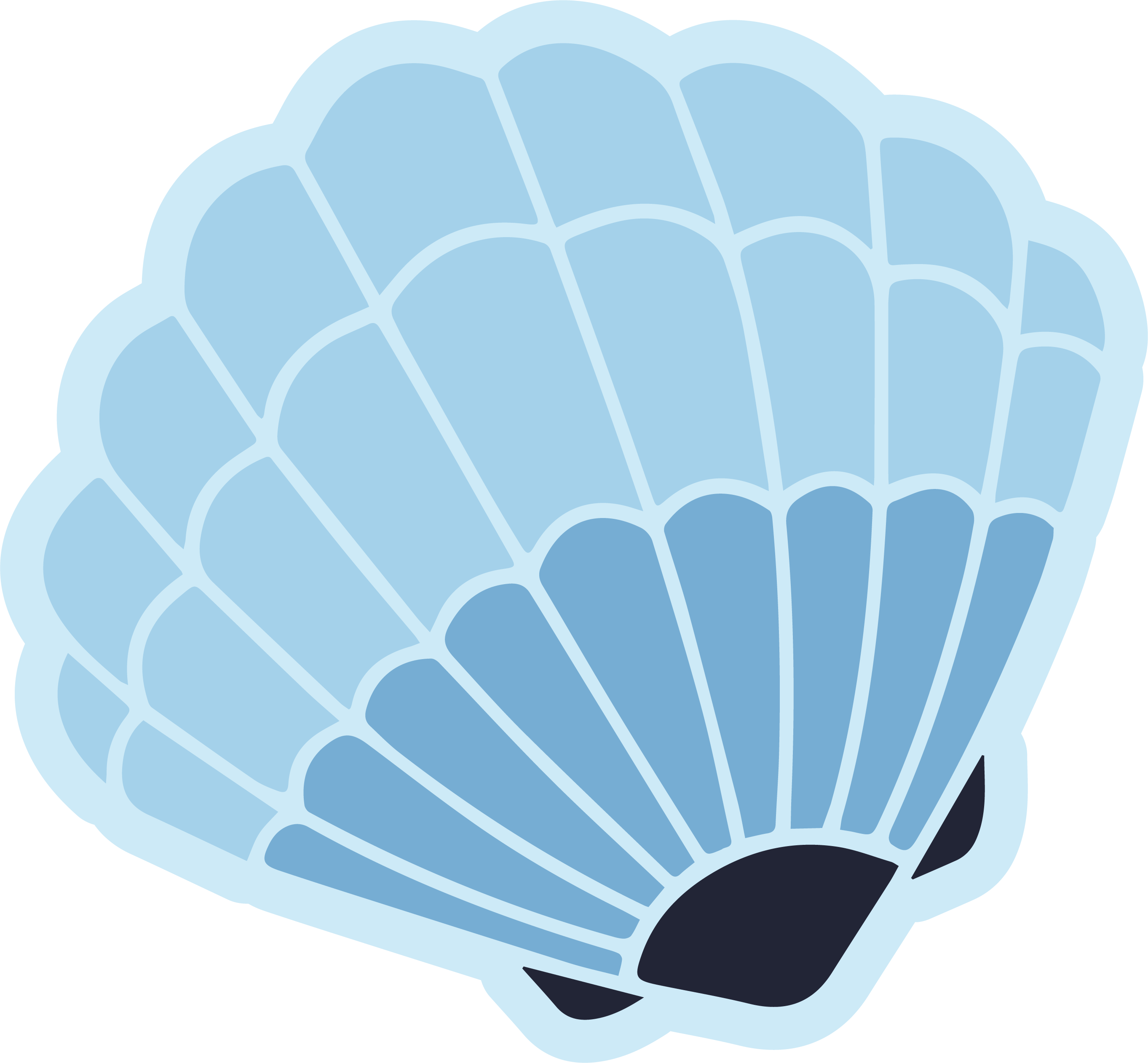 Deep Blue Seashell SVG Cut File