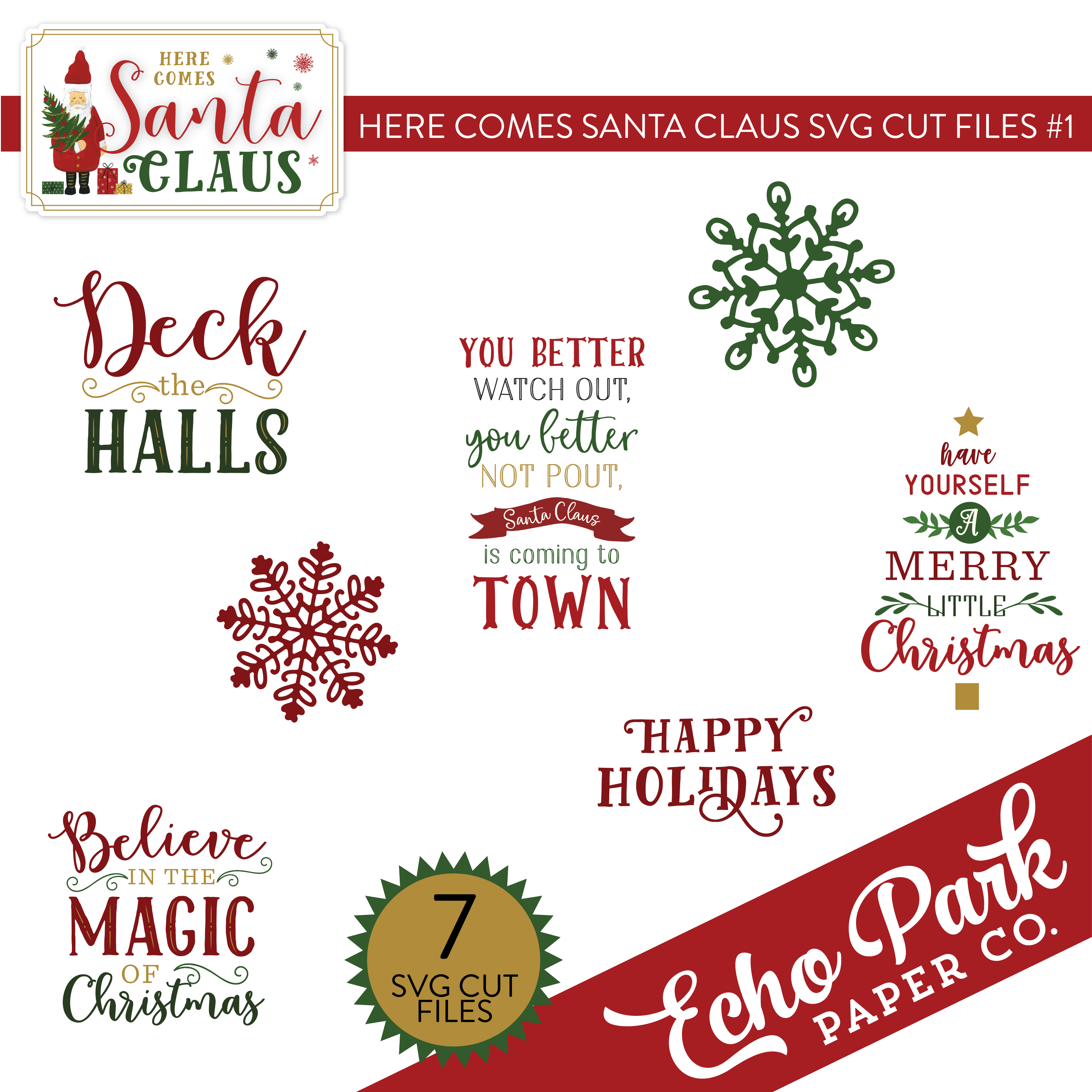 Here Comes Santa Claus SVG Cut Files #1