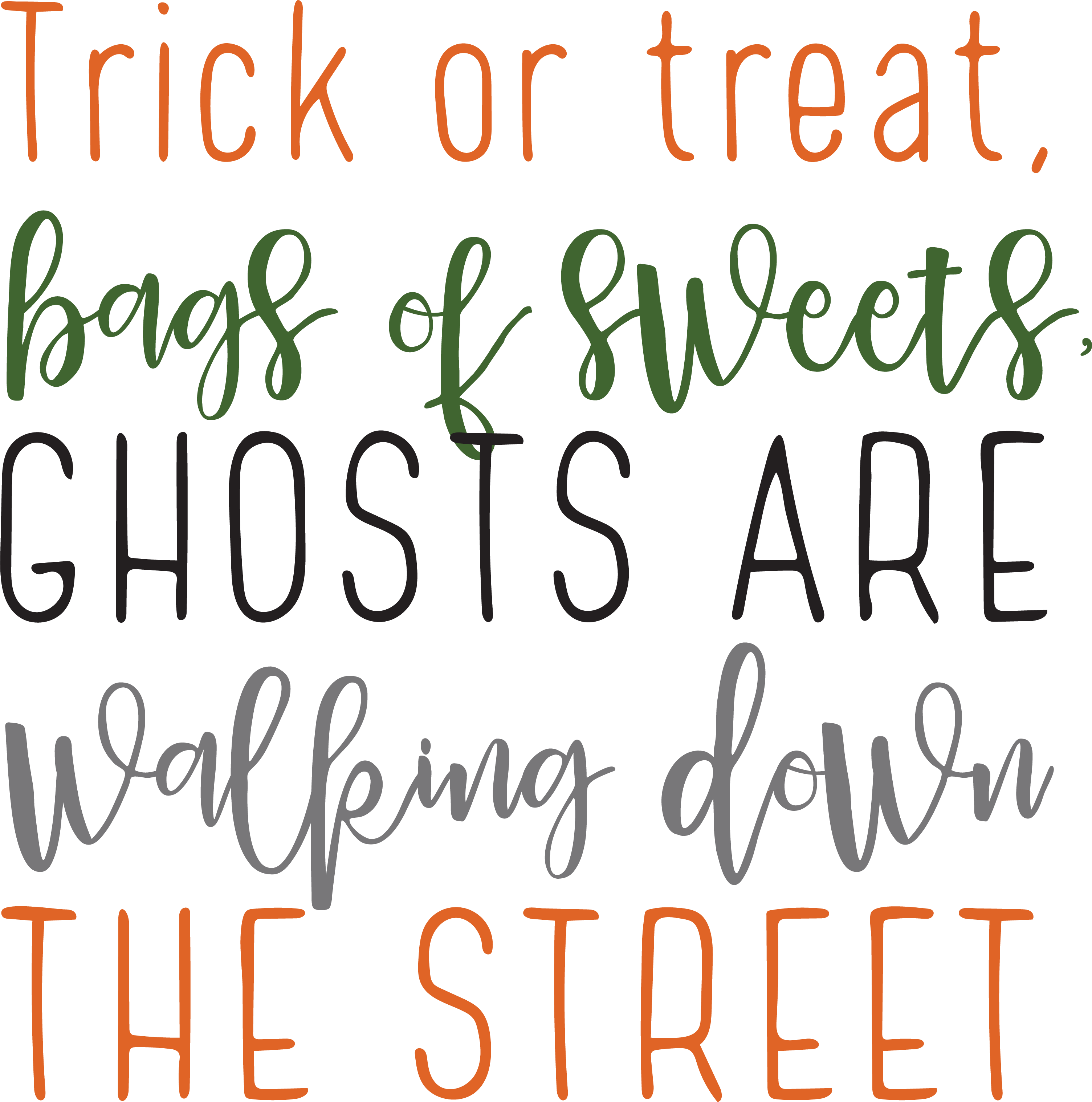 Trick Or Treat Bags Of Sweets SVG Cut File