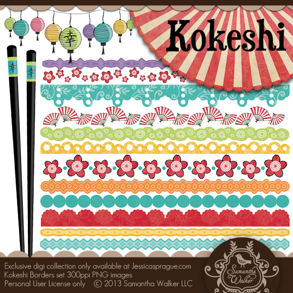 Kokeshi Borders Set