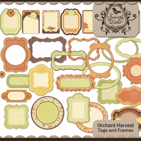 Orchard Harvest Tags and Frames