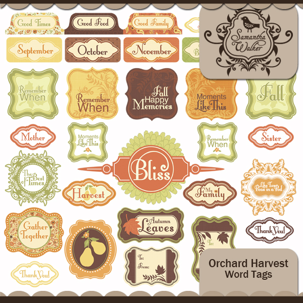 Orchard Harvest Word Tags