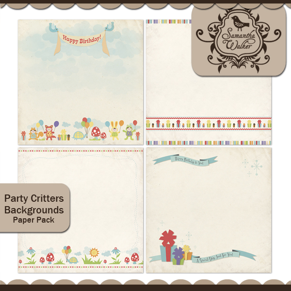 Party Critters Backgrounds Paper pack