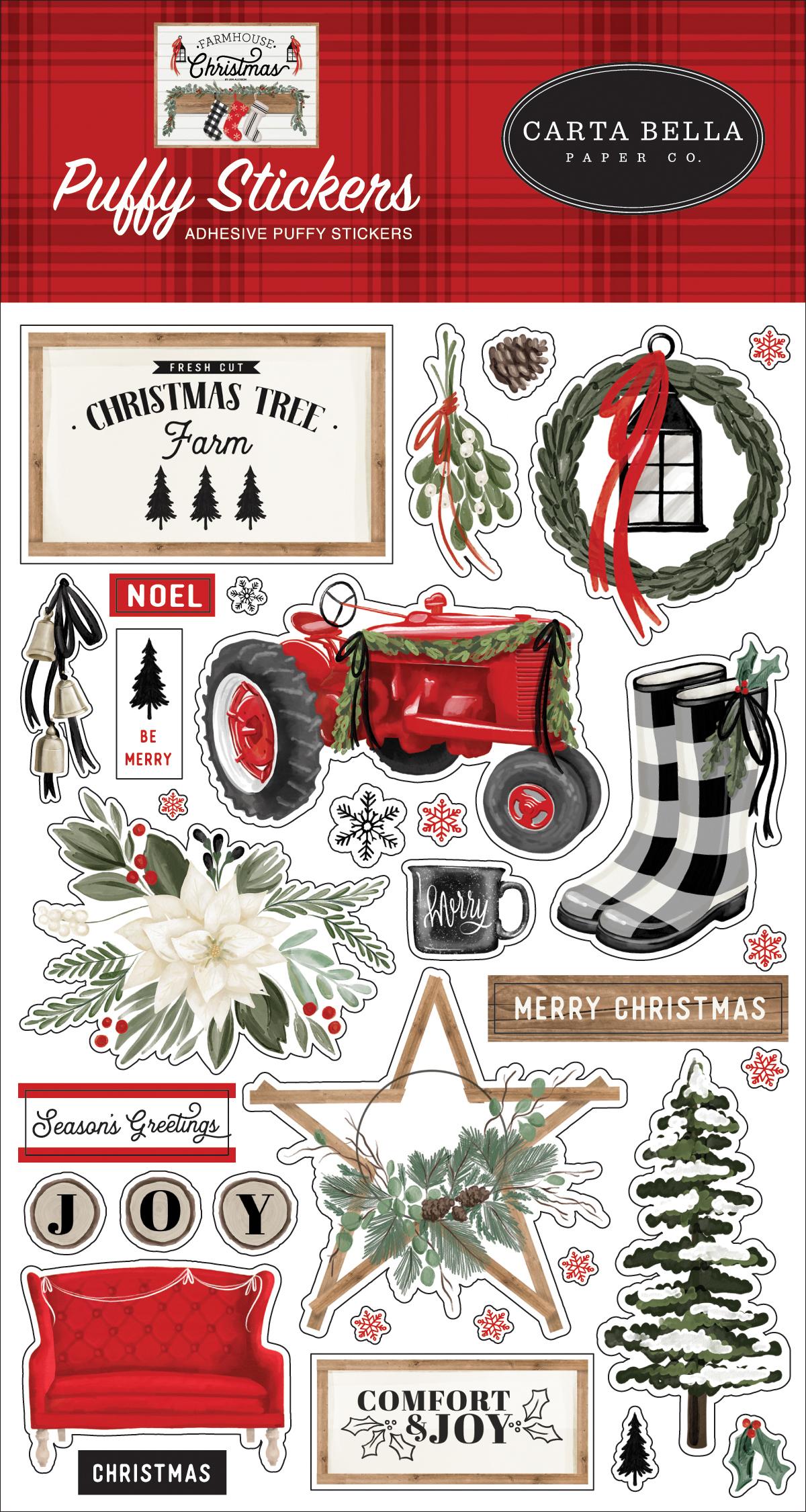 Farmhouse Christmas Puffy Stickers