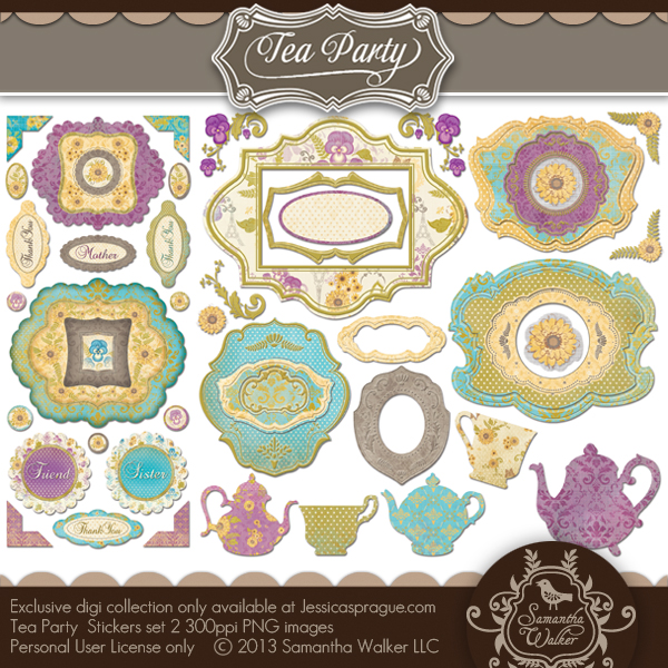 Tea Party Sticker Set 2