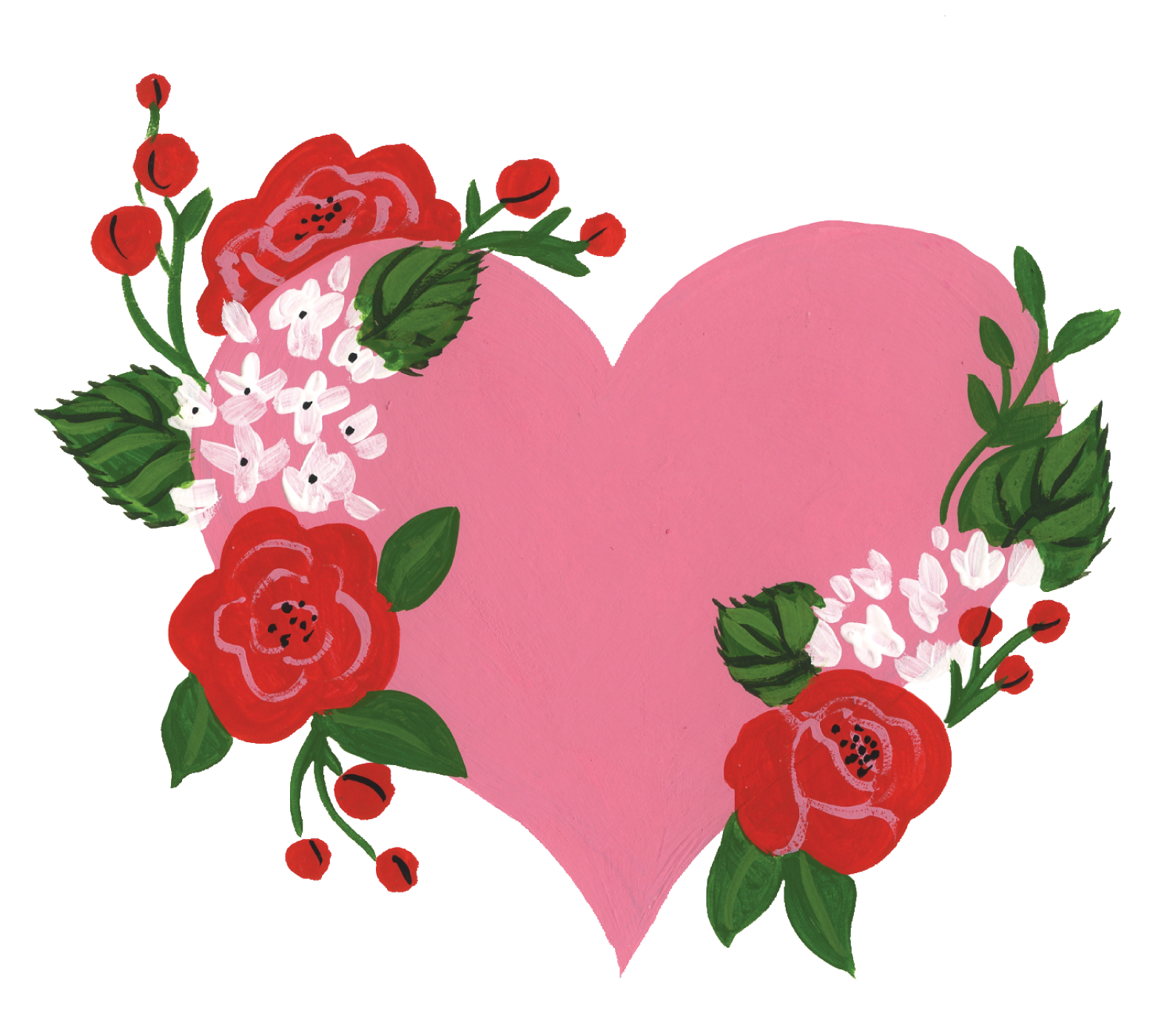 Be My Valentine Floral Heart Print & Cut Files