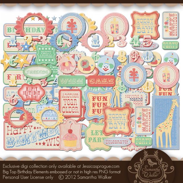 Big Top Birthday element collection