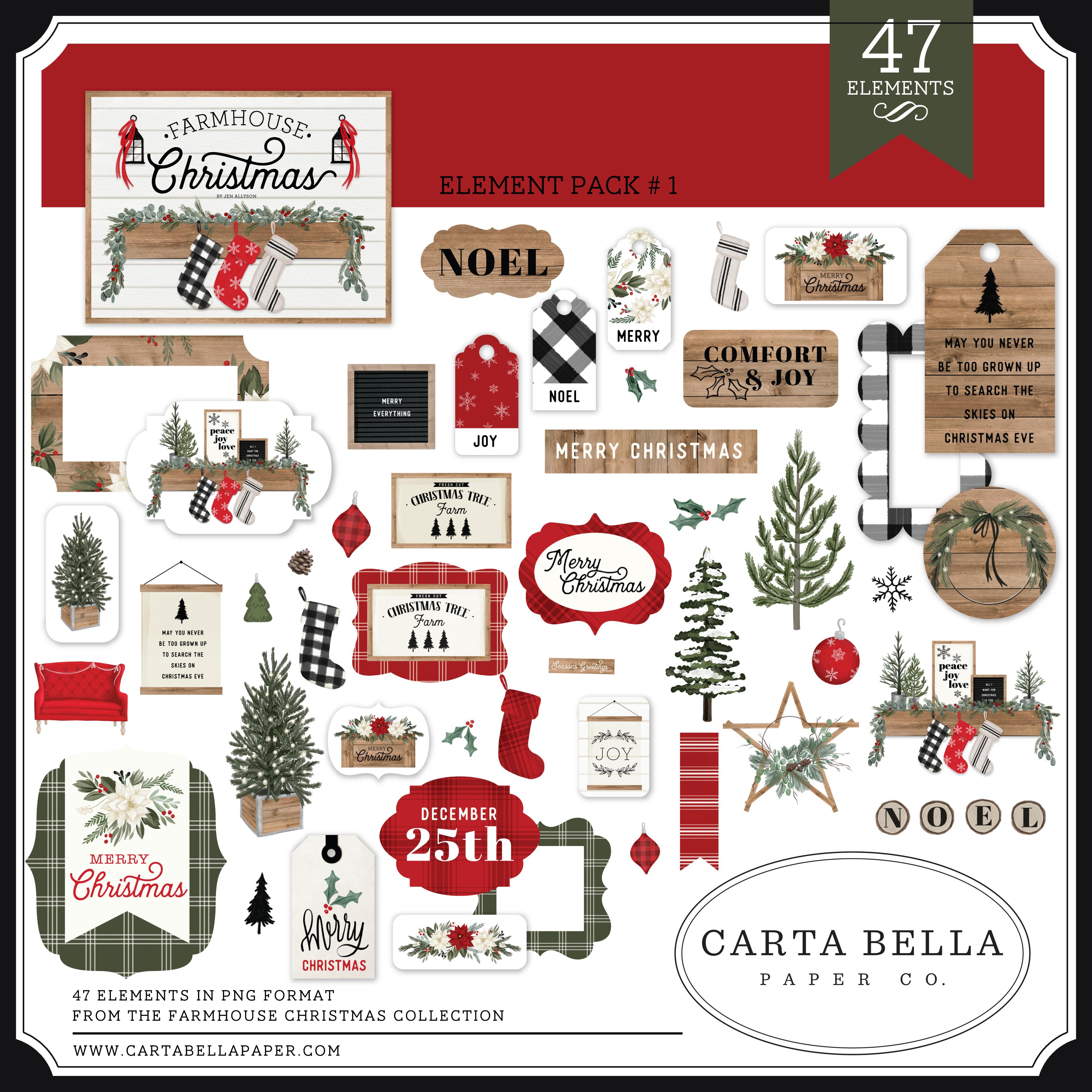 Farmhouse Christmas Element Pack #1