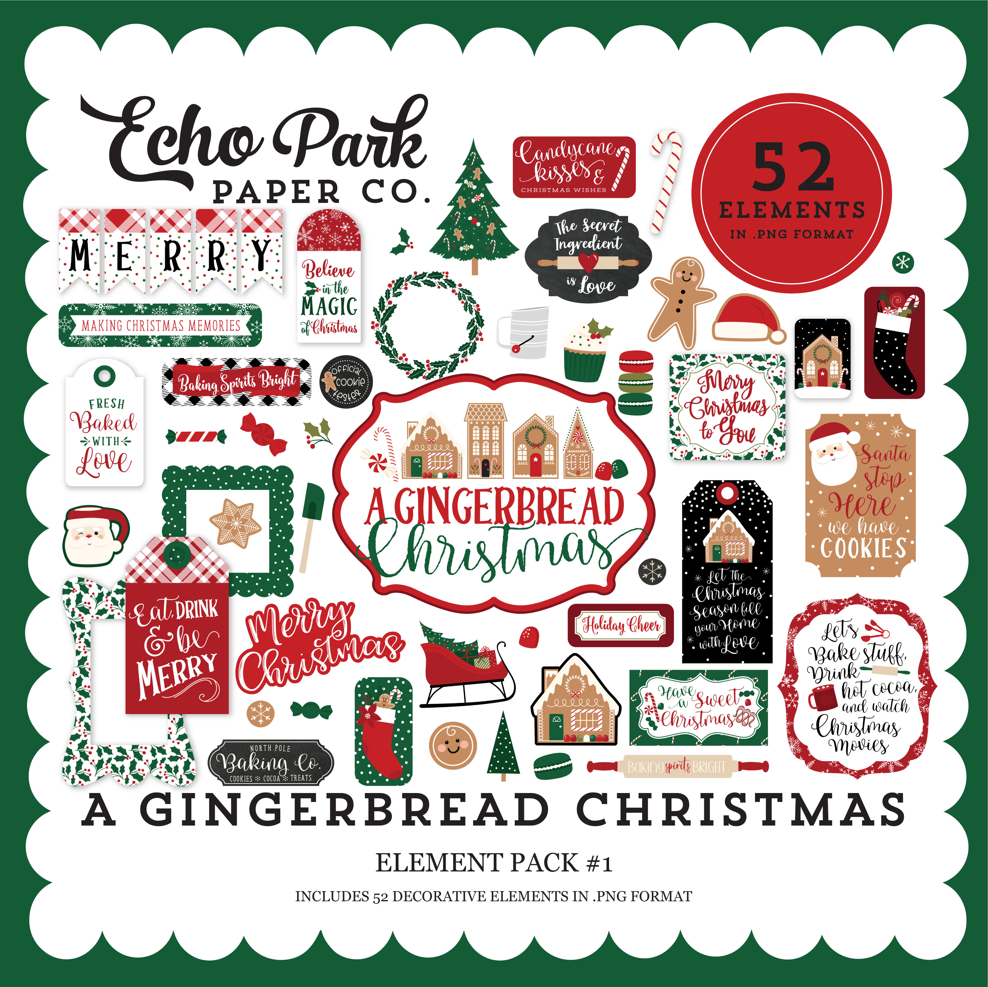 A Gingerbread Christmas Element Pack #1
