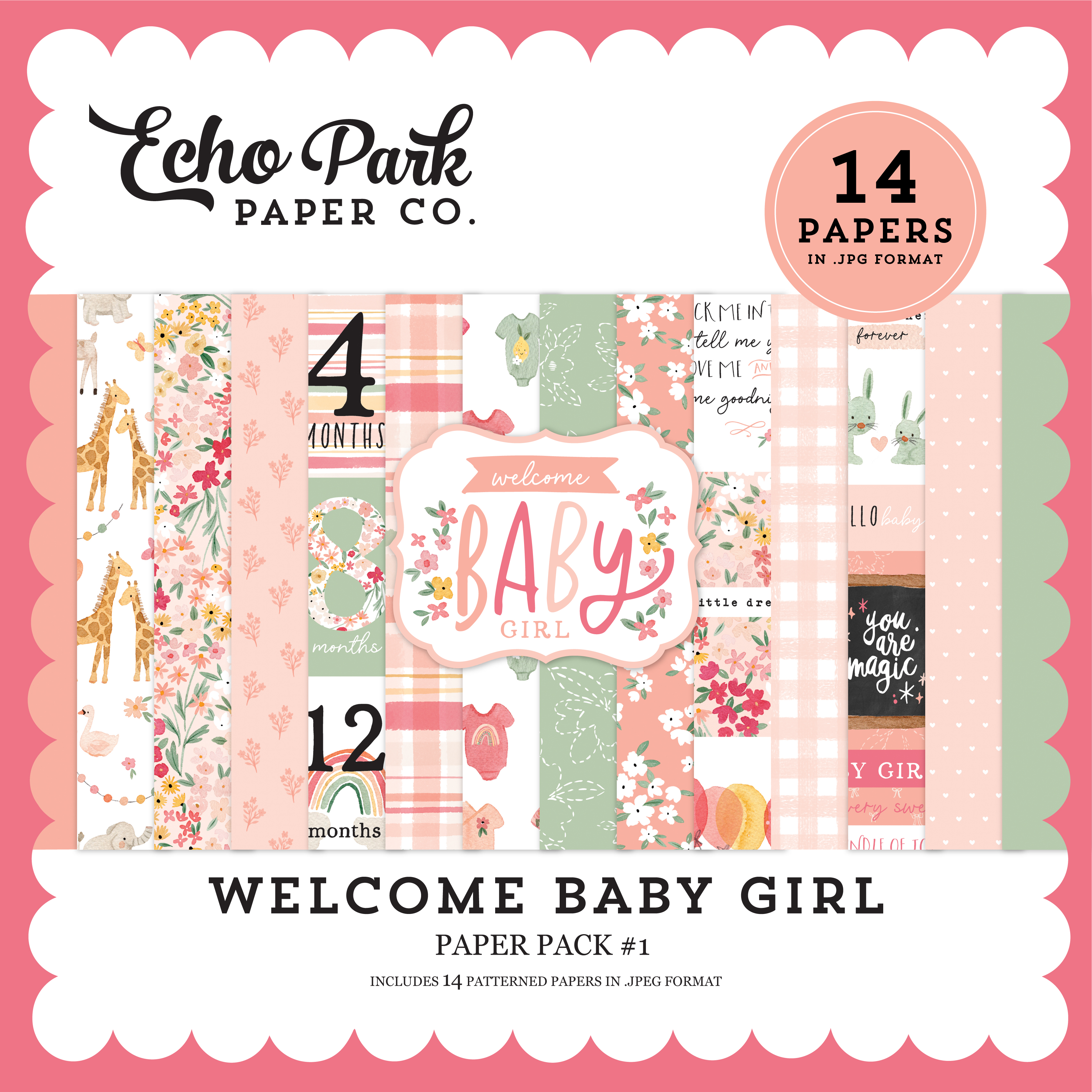 Welcome Baby Girl Paper Pack #1