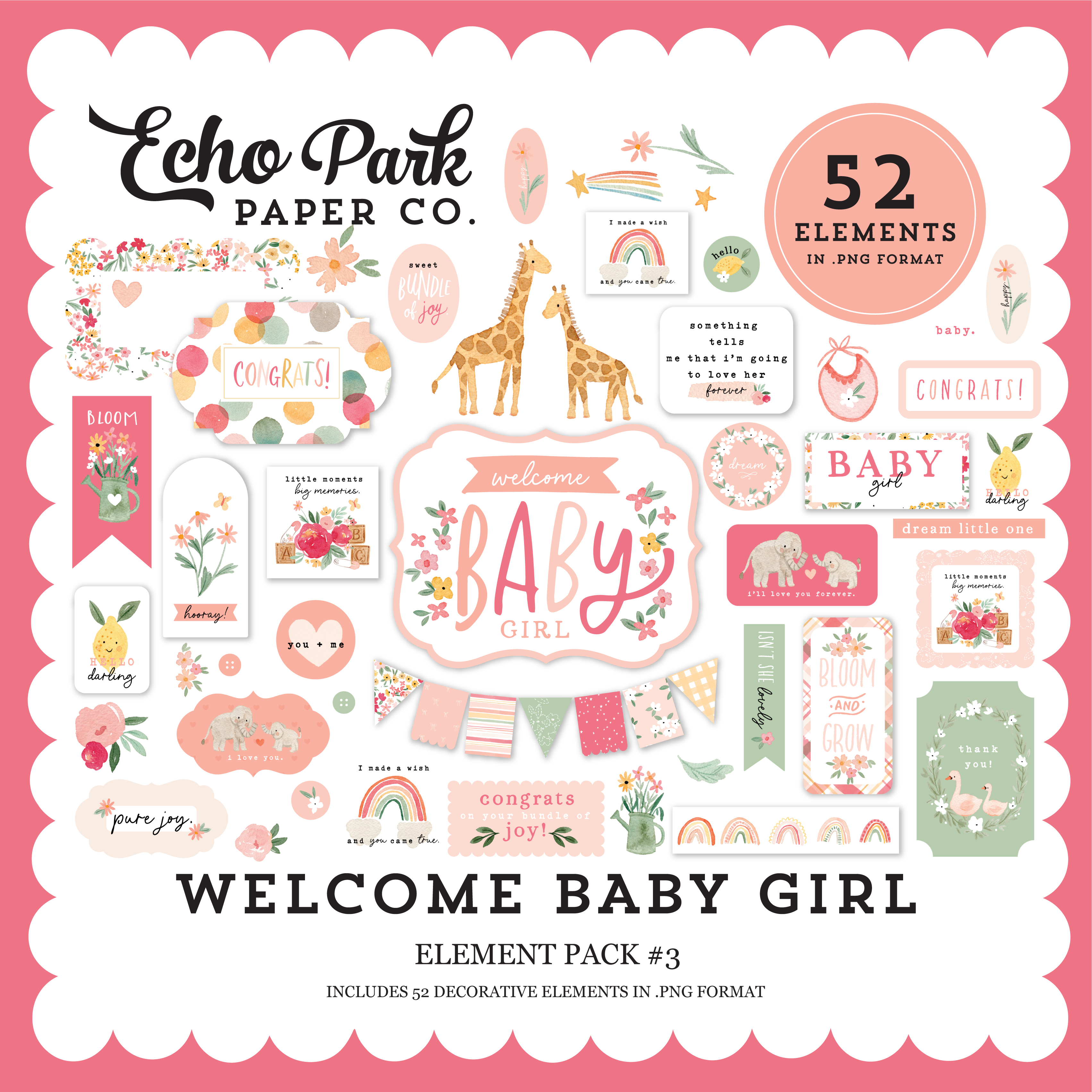 Welcome Baby Girl Element Pack #3