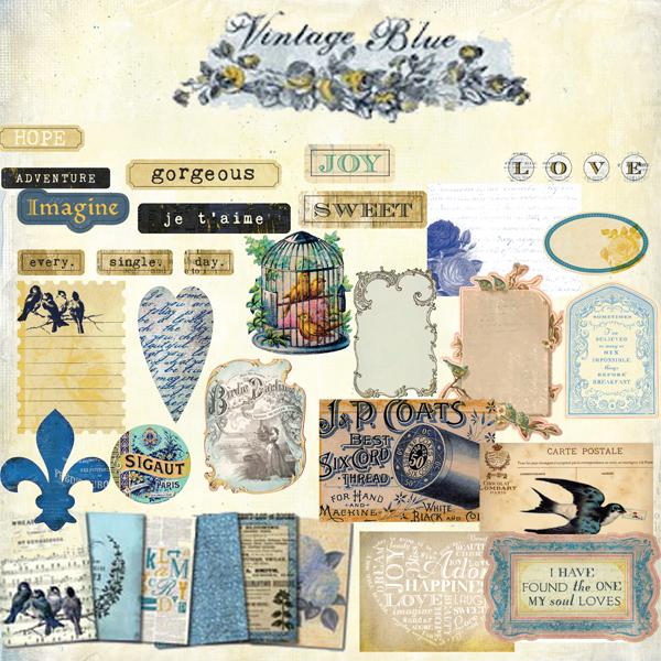 Vintage Blue Elements