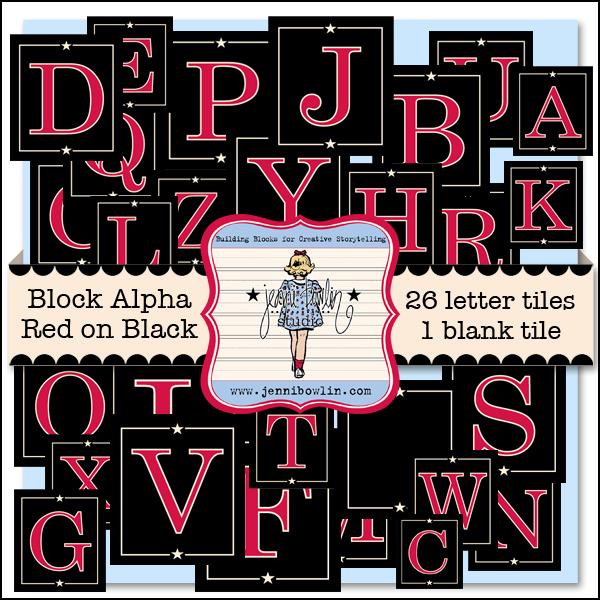 Block Alphabet - Red on Black