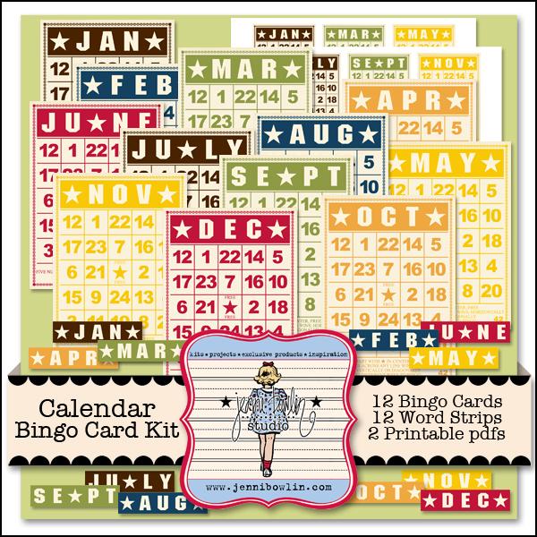 Calendar Bingo Card Kit