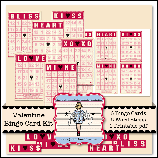 image about Printable Valentine Bingo Card titled Valentine Bingo Card Package