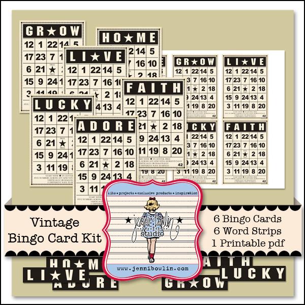 Vintage Bingo Card Kit