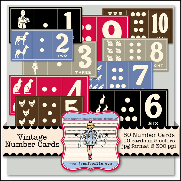 Vintage Number Cards