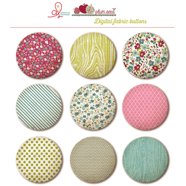 Fabric buttons Plum Seed