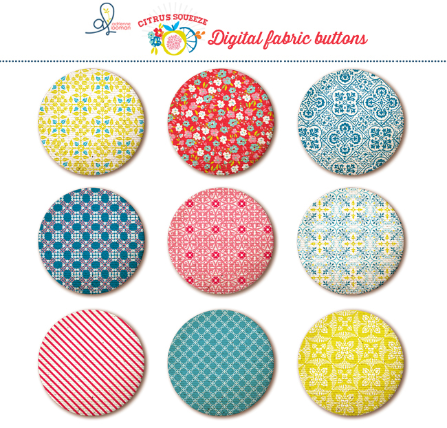 Fabric buttons Citrus Squeeze