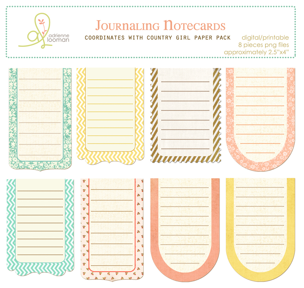 Journaling cards Country Girl