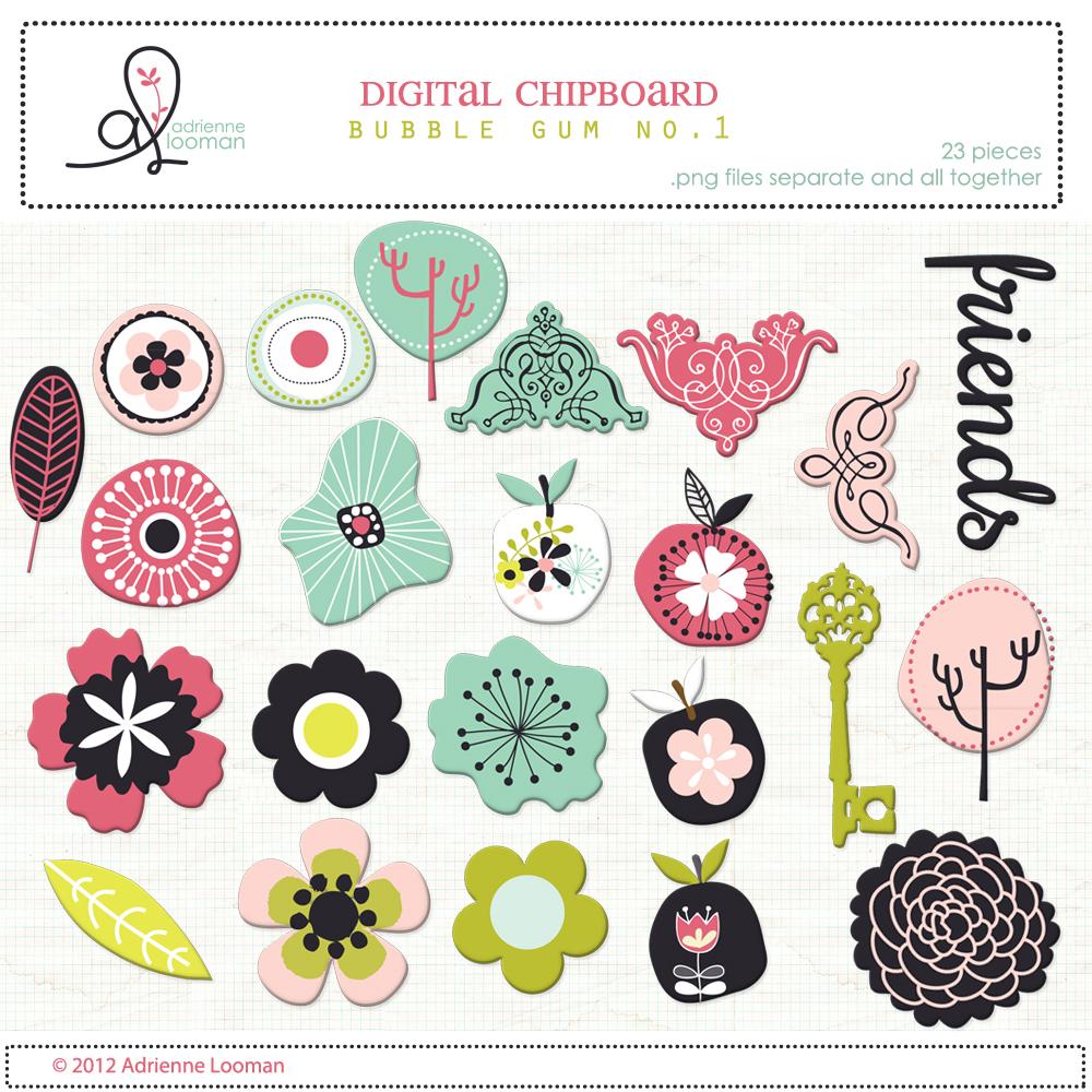Chipboard bubble gum flowers