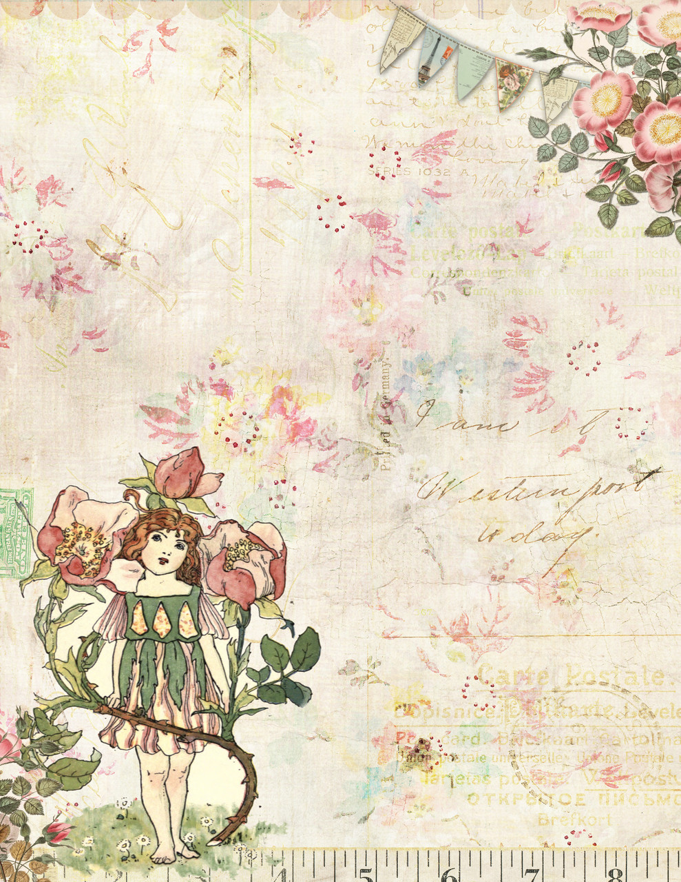 picture about Vintage Printable titled Printable Typical Letterhead Stationary - Typical Fairy and Bouquets