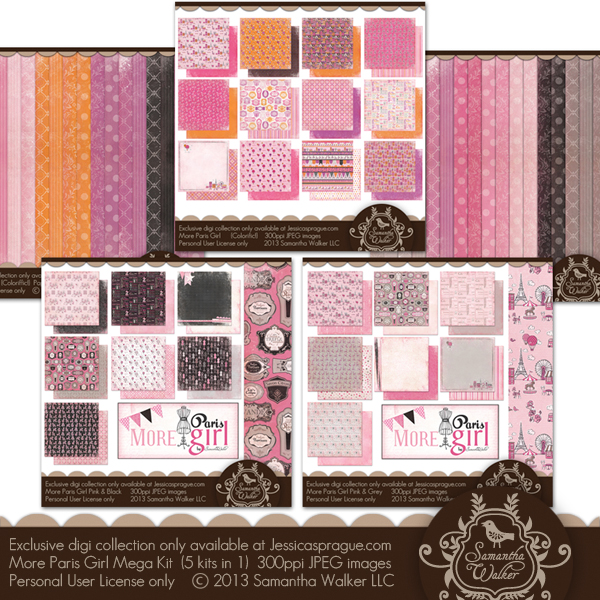 In this kit you will receive the entire More Paris Girl Collection, that is 5 digital kits!