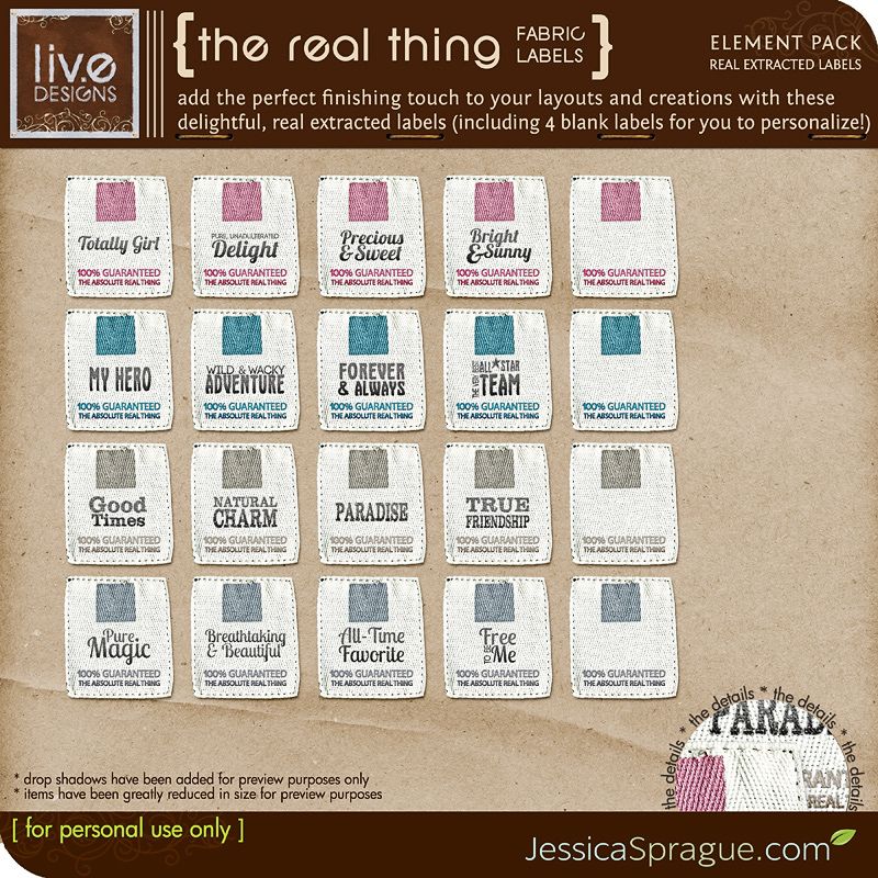 liv.edesigns The Real Thing - Fabric Labels (lovingly extracted and created from... the real thing! :) )