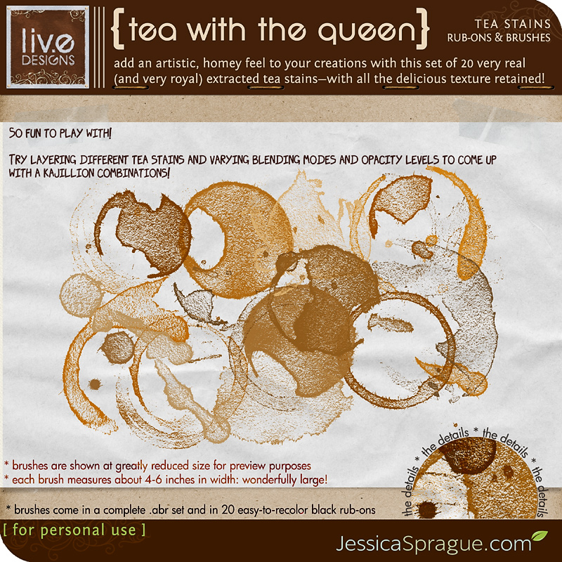 liv.edesigns Tea With The Queen - Get the lovely look of tea stains without having to clean up the mess!