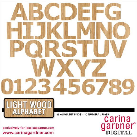 Light Wood Alphabet and Numbers