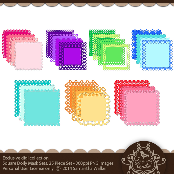 This kit comes with 25 12x12 square doily masks in a .png format.