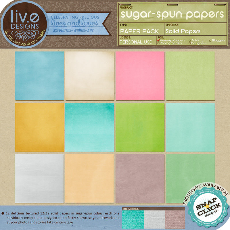 liv.edesigns Sugar-Spun Papers (Full-page preview at greatly reduced sizes)