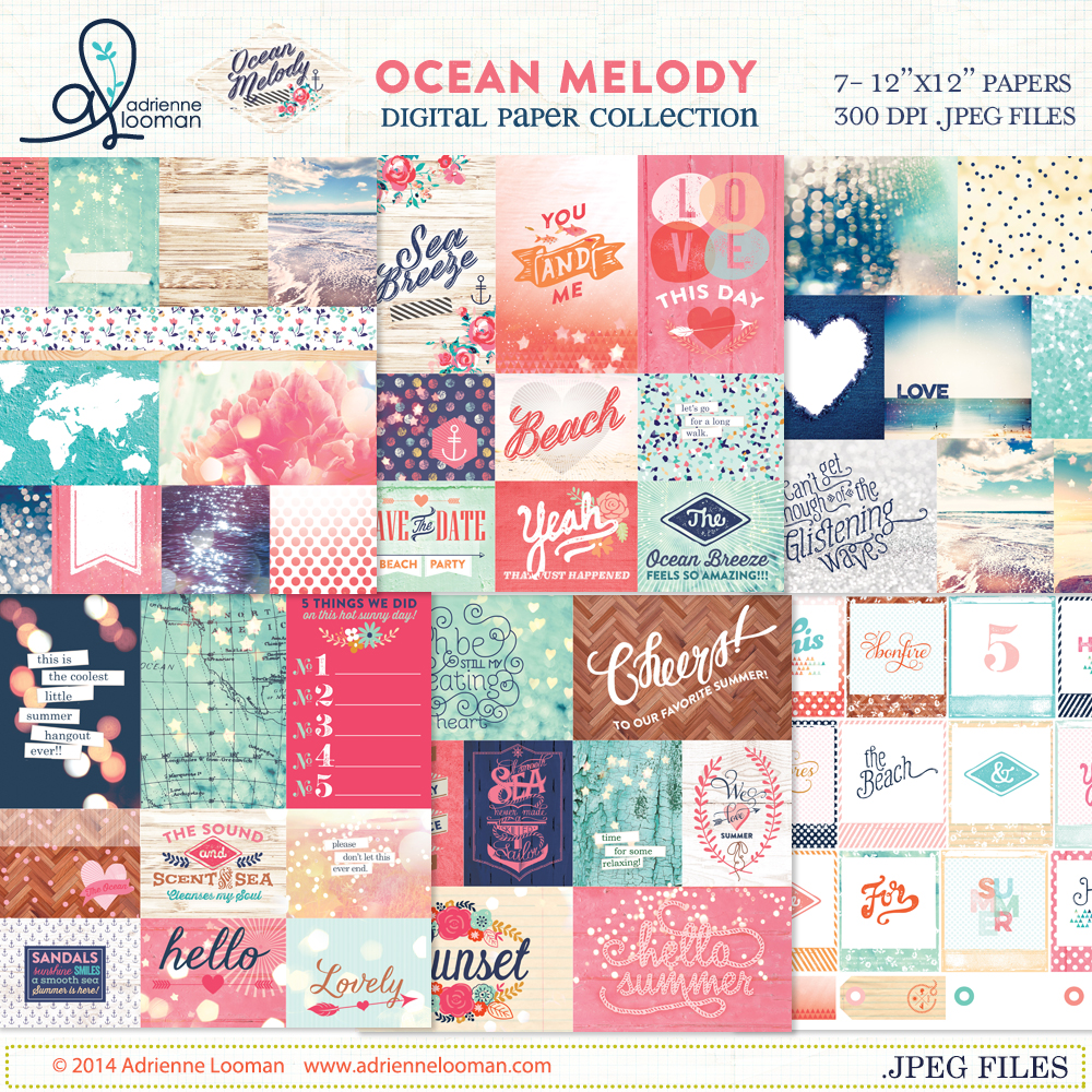 Ocean Melody digital paper kit